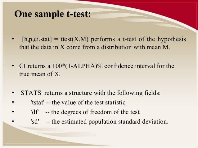 matlab one sample test