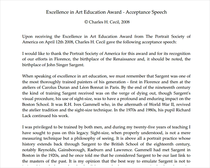 sample award presentation speech examples