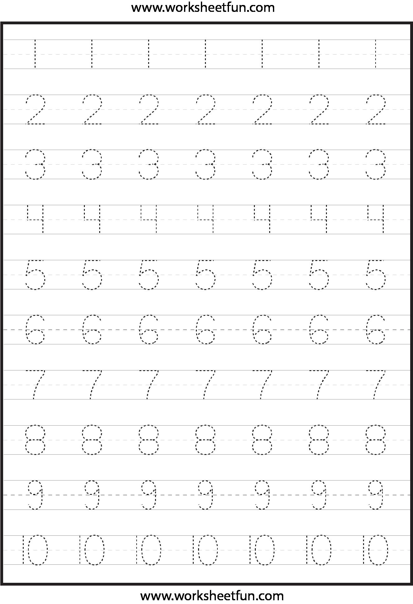 numbers 1 10 worksheets for kindergarten pdf