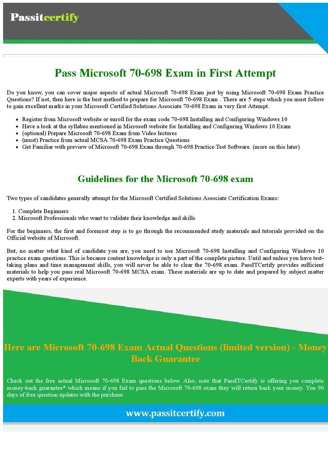 mcsa windows 10 exam 70 698 pdf