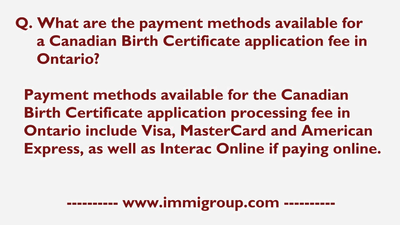 ontario birth certificate application