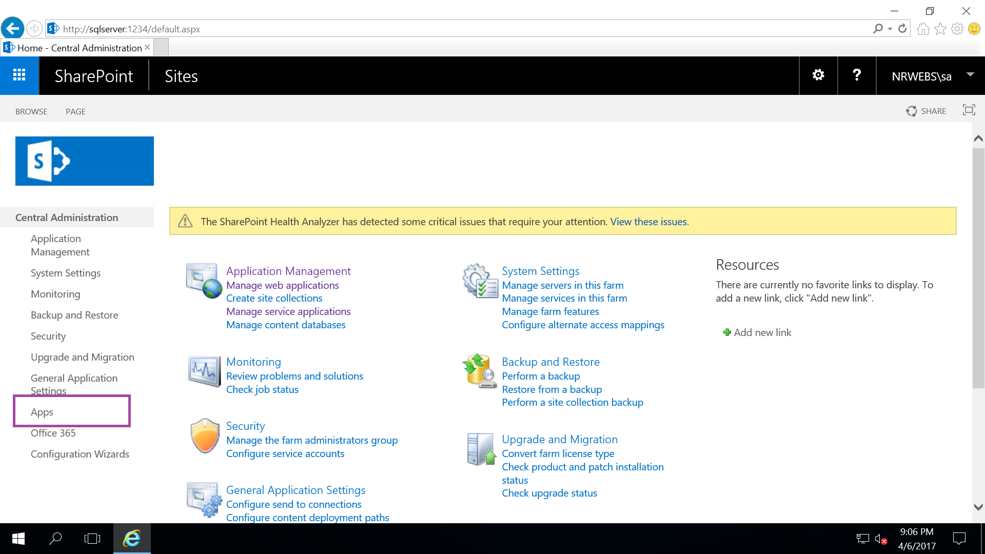 sharepoint application page