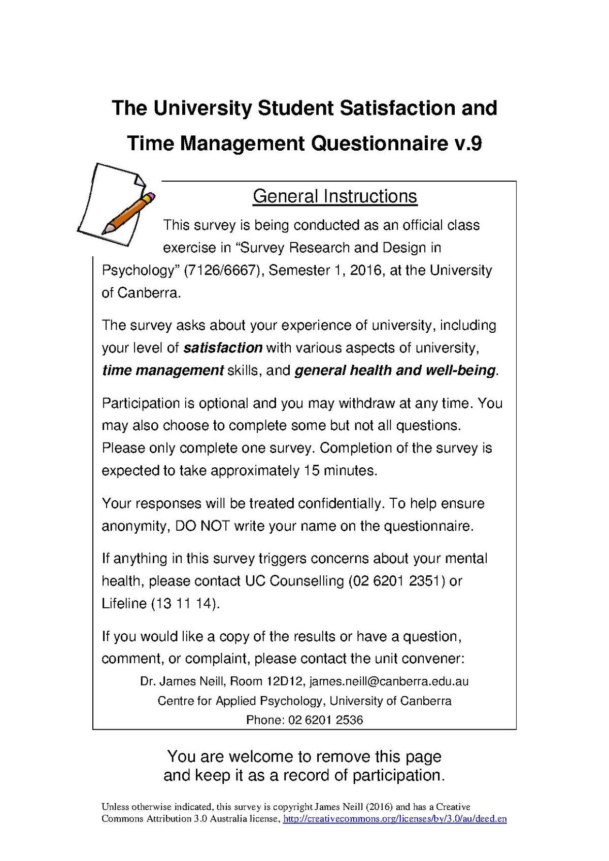 psychological questionnaire pdf