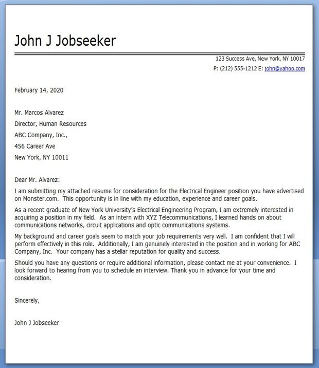 sample electrical compamy cover letter