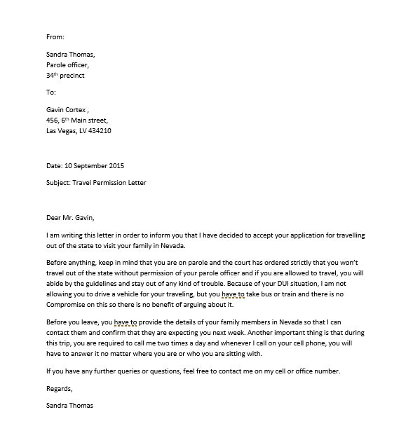sample letter of request for permission to travel