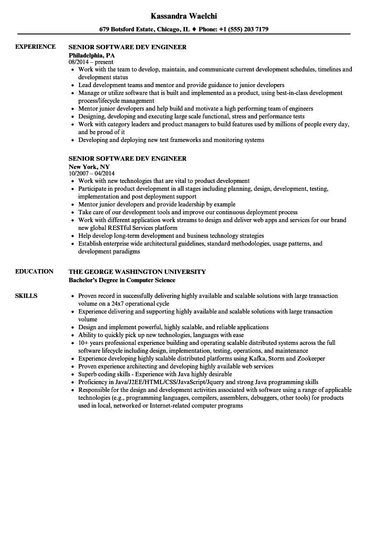 sr software developer resume sample